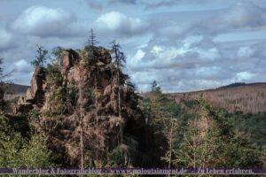 Berg im Harz bei bewölktem Himmel